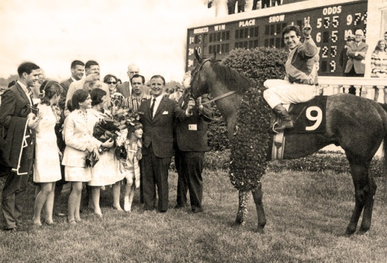 Dancer's Image in the Winner's Circle, 1968 Kentucky Derby.