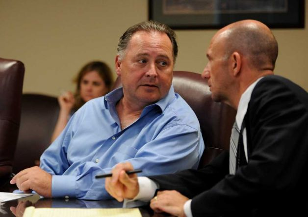 Rick Dutrow listens intently to his attorney. Image by Skip Dickstein / Times Union.