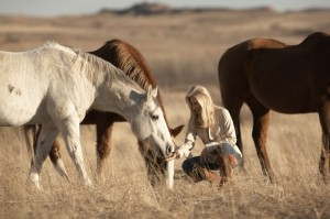 Madeleine Pickens and wild horses. Google image.