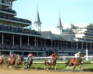 Horseracing at Churchill Downs. FindFreeGraphics.com.