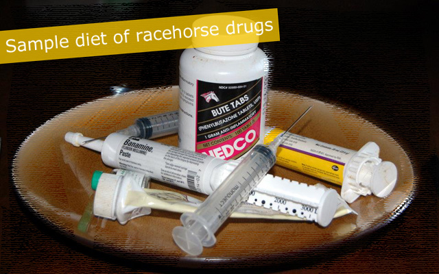 Sample diet of just a few racehorse drugs.