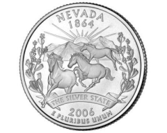 Nevada quarter shows free roaming wild horses.