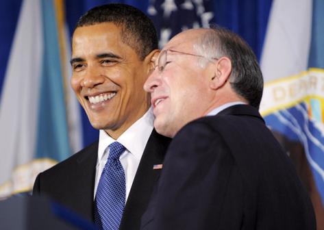 President Obama and Ken Salazar. Photo Mandel Ngan AFP / Getty Images.