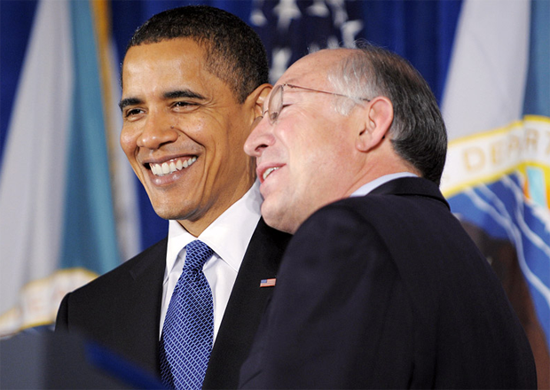 President Obama and Ken Salazar. Photo Mandel Ngan AFP / Getty Images.