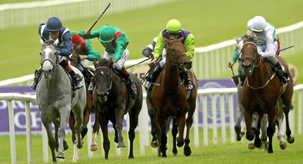 Sky Lantern ridden by Richard Hughes comes home to win the Moyglare. Photo ©INPHO/Ryan Byrne.