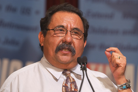 Rep Raul Grijalva at the podium. Google image.