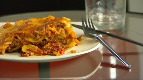 Frozen lasagne labeled made with meat found to be 100% horse meat. ITV image.