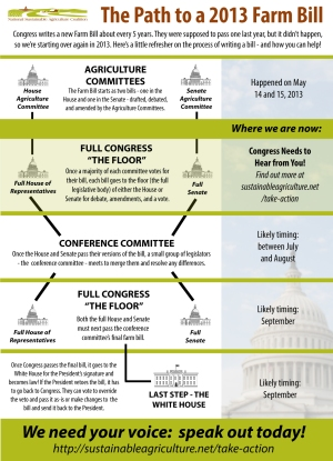 2013 Farm Bill process chart from farmersmarketcoalition.org.