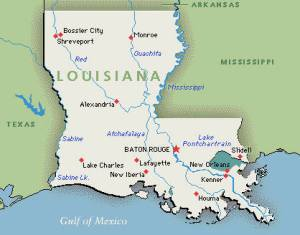 MapMap of Louisiana. Google image.