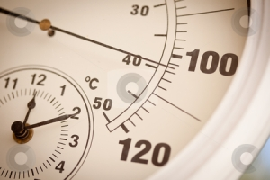 Thermometer showing 100 plus heat. Image from CutCaster.com.