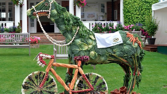 Edible Ebor Equine, made from fruit, veg, grain and Yorkshire pud. Photo source: ITV