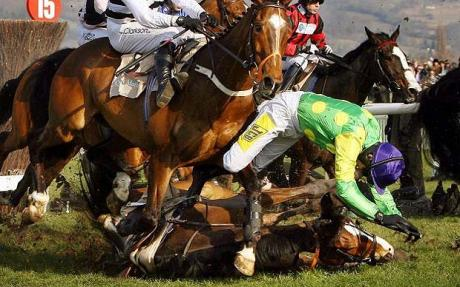 Racing in the UK has killed at least 1000 horses since 2007 say reports by activists and racing authorities. Image: The Telegraph.