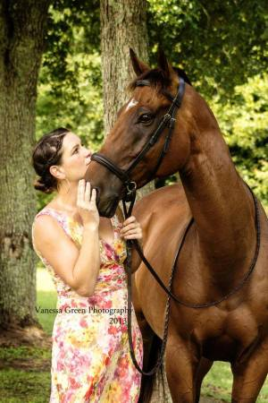 Susan Kimball and her OTTB Cricket. Photo by Vanessa Green.