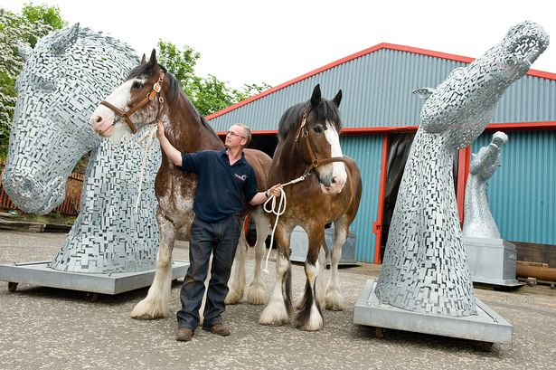 The massive silver horse heads being built on the Firth/Forth Canal. Photo Credit: James Stewart.