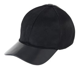 Mark Jacobs Pony Hair and Leather ballcap, featured in fashion blog tweet. Retails for $655.00 on his website.
