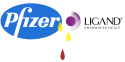 Pfizer and Ligand logos united with pee and blood drops.