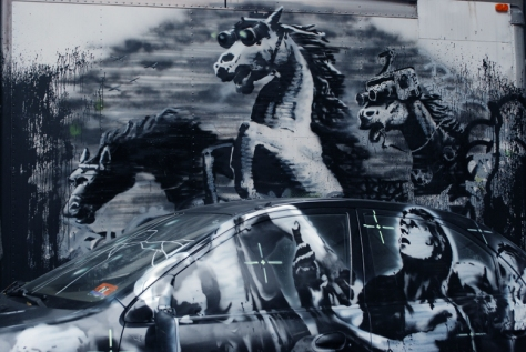 "Banksy ""Wild Horses"" Street Art installation, Lower East Side, New York City. Image Source: Banksy Website."
