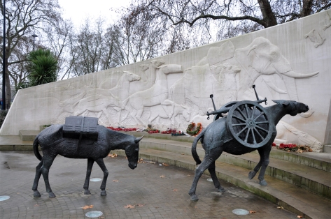 Animals in War Memorial, London, England. Photo by Rob Lovesey.