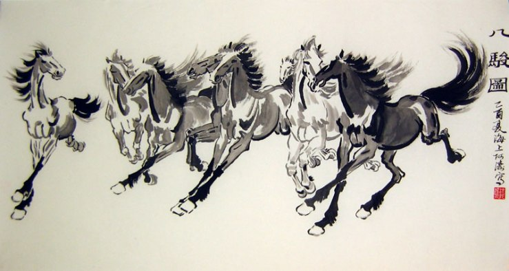 Chinese brush painting of eight horses.  From www.paintingschinese.com.
