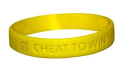 Cheat to Win bracelet in honor of Lance Armstrong. From The Onion Store.