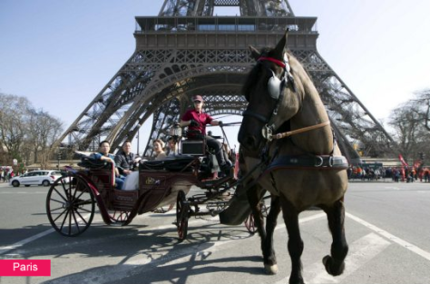 Horse drawn carriage, Eiffel Tower, Paris, France. Google image.