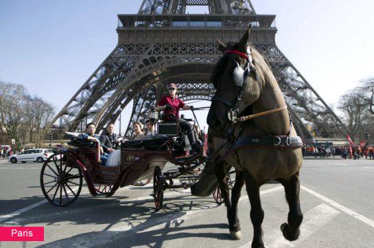Horse drawn carriage, Eiffel Tower, Paris, France. Google image.