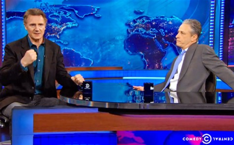 Liam Neeson blows up over NYC carriage horse issue on The Daily Show with Jon Stewart.