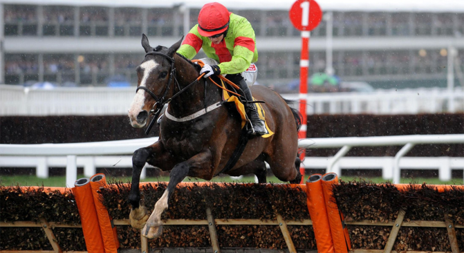 Our Conor, ridden by Bryan Cooper, goes on to win the JCB Triumph Hurdle at Cheltenham in 2013.