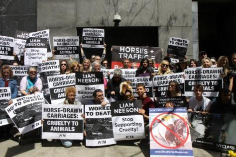 Carriage horse protestors picket the actor's home on in New York (WENN)