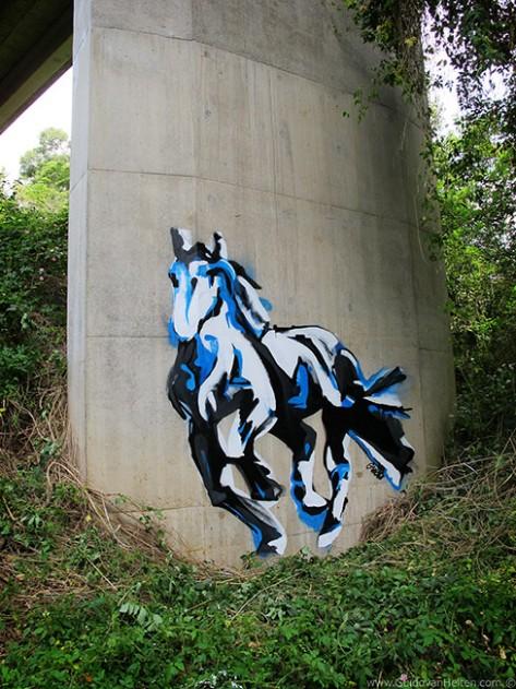 Galloping Horse on Bridge Support, by Guido Van Helten, NSW, Australia