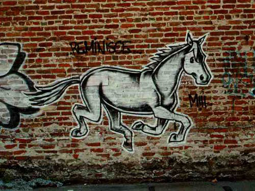 Horse graffiti Reminisce by Ruby Neri.