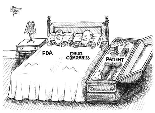 FDA in bed with drug companies cartoon.