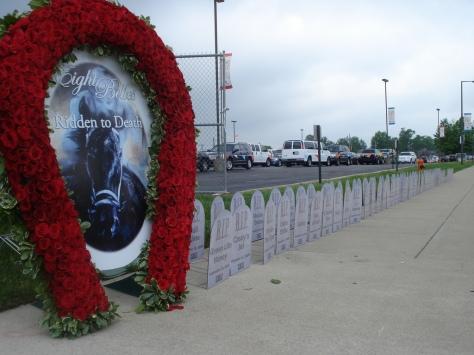 Peta's Eight Belles Memorial & Horse Racing Headstones at the Kentucky Derby. Source: Flickr.