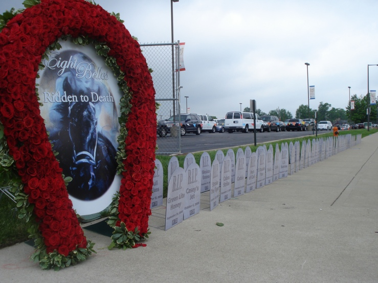 Peta's Eight Belles Memorial & Horse Racing Headstones at the Kentucky Derby. Source: Flickr.