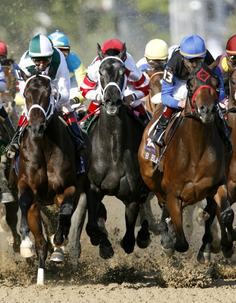 Second-place finisher Eight Belles in the middle of the pack during the Kentucky Derby in 2008. (Reuters)