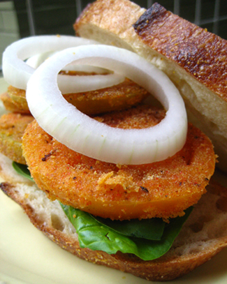 Fried green tomato sandwich. Yes it's vegan. Image and recipe via Peta.