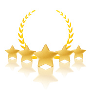 Five Gold Stars with Laurel Leaves Clipart. Via http://www.freeimages.com/