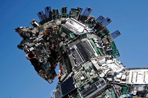 A close-up of the head of 'Cyber Horse,' made from thousands of infected computer and cell phone bits, is on display at the entrance to the annual Cyberweek conference at Tel Aviv University in Israel on Monday. Amir Cohen/Reuters.