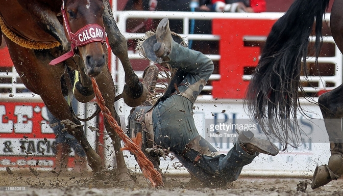 Bronco busting at the Calgary Stampede, July 11, 2011. Getty Images.