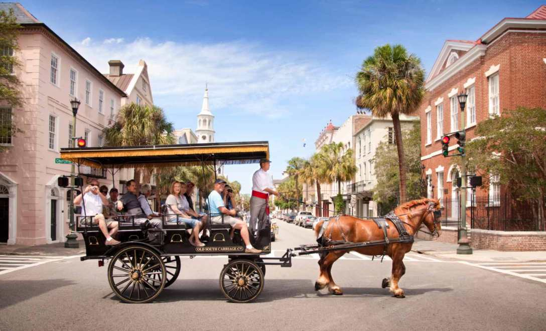 Horse drawn carriage by Charleston Tours.