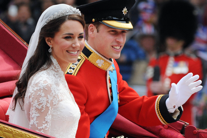 Duke and Duchess of Cambridge on their wedding day. Photographer unknown.