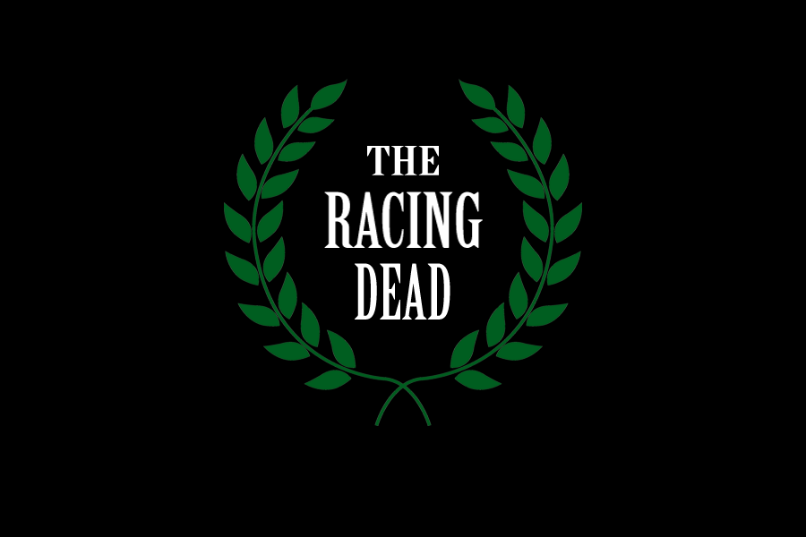 Laurel Leaves with the text THE RACING DEAD in the center. Artwork by Vivian Grant Farrell for Tuesday's Horse.