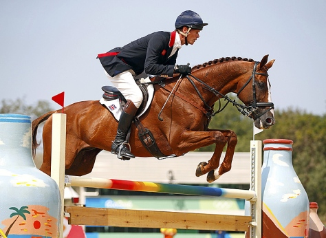 William Fox-Pitt of the United Kingdom rides Chilli Morning in the individual equestrian jumping final at the Olympics in Rio de Janeiro, Brazil, on Tuesday. Tony Gentile/Reuters.