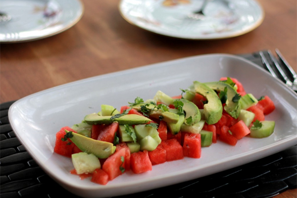 Watermelon, avocado, cucumber salad. Recipe and photo from Ambitious Kitchen.
