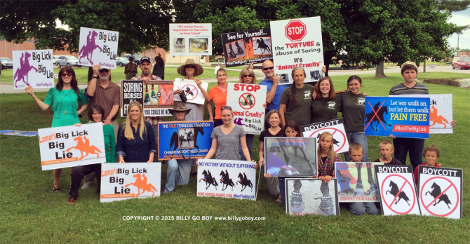 "Proud American exercising their constitutional rights to protest ""Big Lick"" animal cruelty. Image © BillyGoBoy.com."