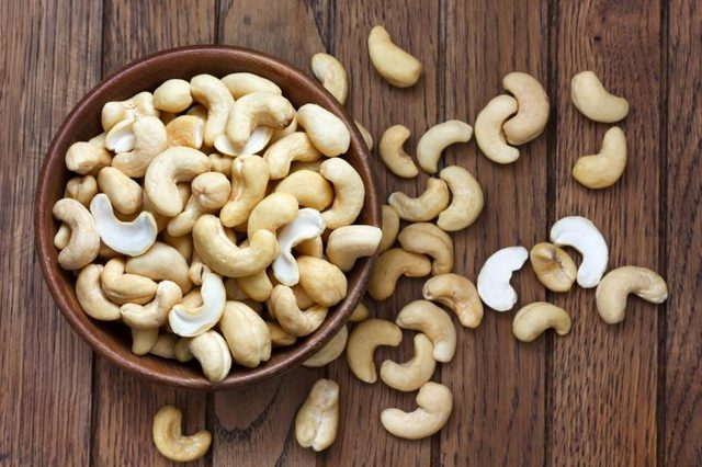 Bowl of cashews.