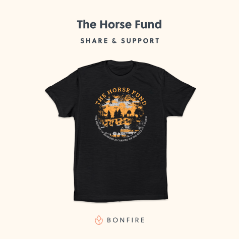 """The history of mankind is carried on the back of a horse"" t-shirt campaign."