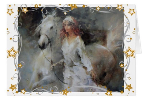 Lady in white and white horse holiday greeting card front by Rainbow Fairy.