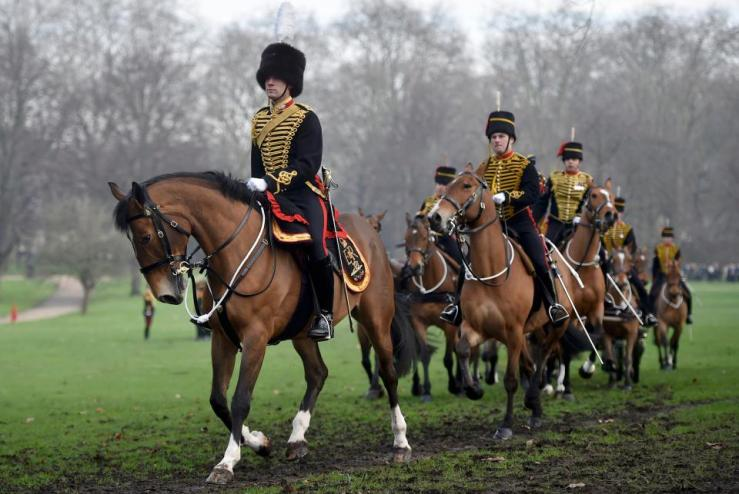 Horsemen prepare to leave after the King's Troop Royal Horse Artillery Royal 41-gun salute to mark the start of Queen Elizabeth's Blue Sapphire Jubilee year at Green Park in central London Monday, February 6, 2017. Hannah McKay/Reuters.