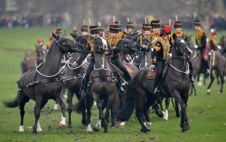 A few of the King's Artillery horses get a bit rambunctious. Via The Sun newspaper.
